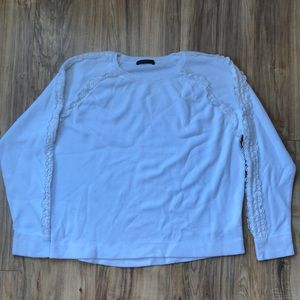 J. Crew White Raglan sleeve Cotton Sweater